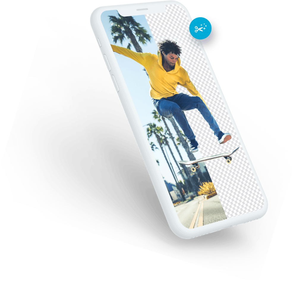 An artistic design of a man on a skateboard with half the background removed made with Bazaart photo editor inside the app's interface
